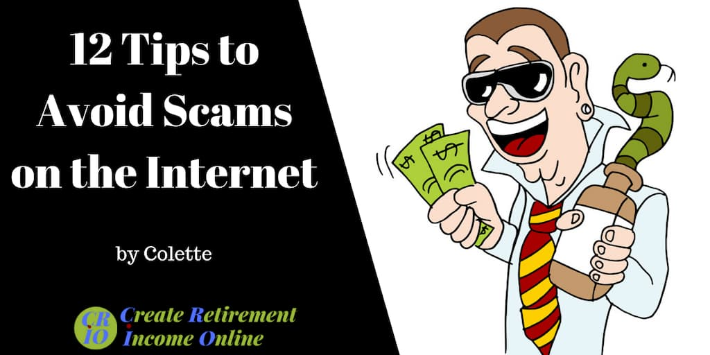 feature image for 12 tips to avoid scams on the internet showing cartoon of a scammer wearing sunglasses with money in one hand and snake-oil in the other