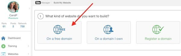 sitebuilder menu showing domain options