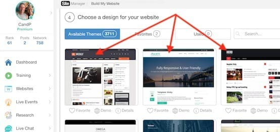 wealthy affiliate sitebuilder window allowing you to choose your website theme