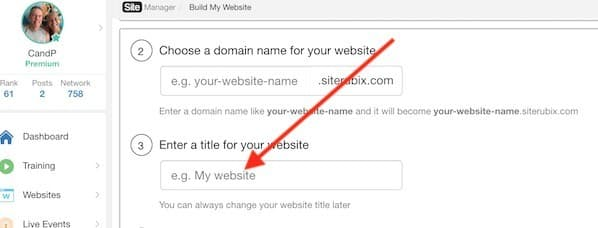 wealthy affiliate sitebuilder window allowing you to add your website title
