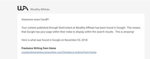 sitecontent notification that a post has been indexed in google
