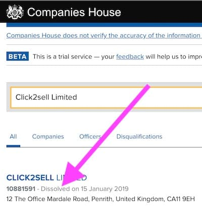 Entry in uk registry of companies showing click2sell limited has been dissolved