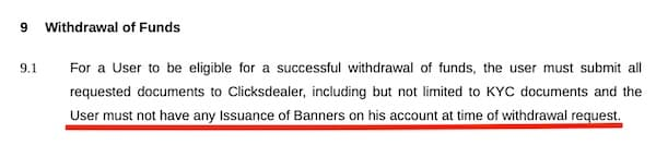 clicks dealer rule stating that a member must first sell all his banners before withdrawing any funds
