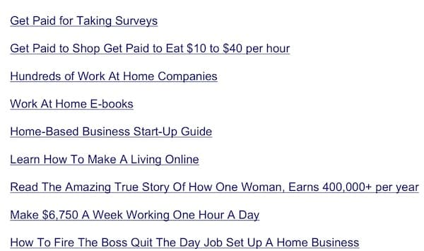list of topics in section on data entry work at home companies
