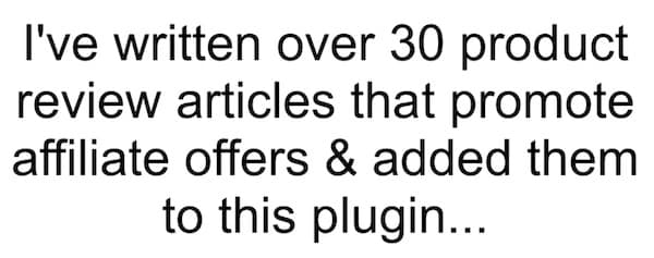 Screenshot of statement from wp affiliate machine video that 30 posts are prewritten