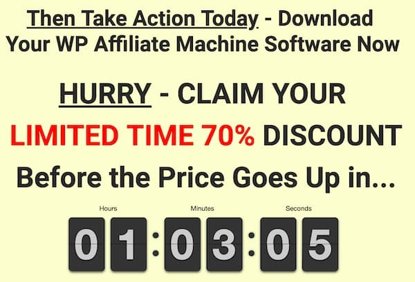timer showing time expiring for special price on wp affiliate machine