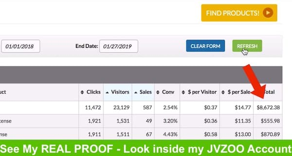 Screenshot of JZ Zoo Affiliate dashboard showing total commissions of $8,672.00
