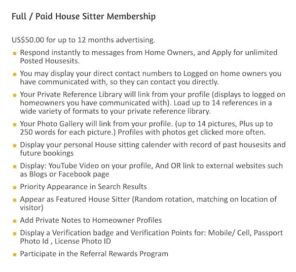 housecarers.com list of benefits of paid membership
