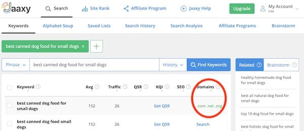 jaaxy search result showing available domain names