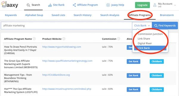 jaaxy search result for affiliate programs