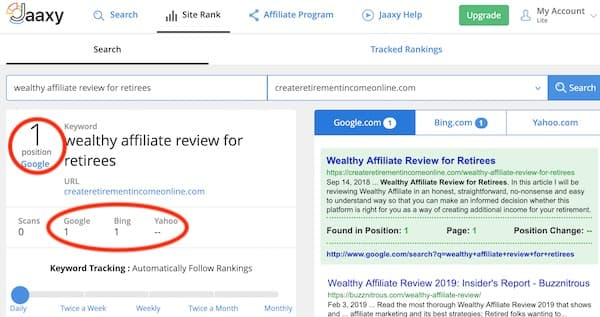 jaaxy site rank search result