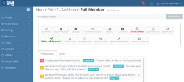 housecarers.com house sitter dashboard