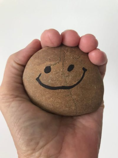 smiling pet rock in a hand