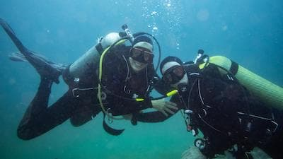 two scuba divers underwater