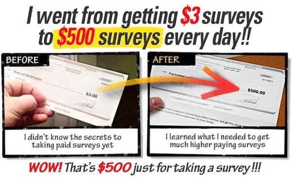 Exaggerated income claims for paid surveys