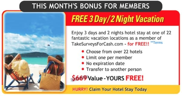 Free vacation for signing up