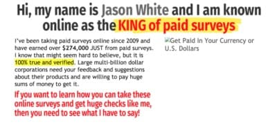 King of paid surveys claim by Jason White