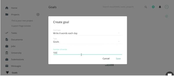 Writerswork goals feature
