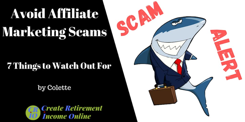 feature image for avoid affiliate marketing scams showing a cartoon of a shark in a suit and the words Scam Alert