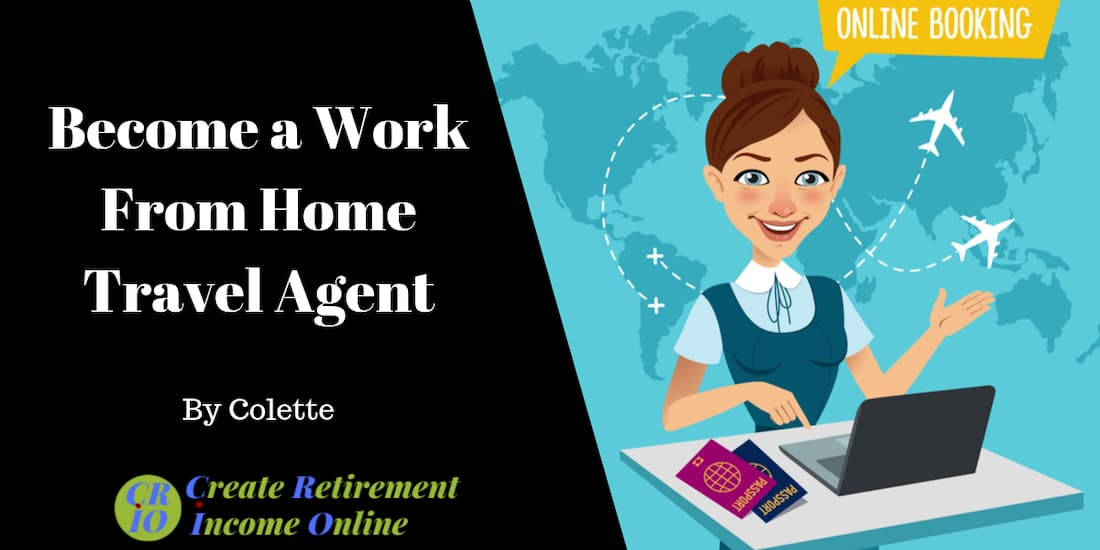 feature image for work from home as a travel agent showing cartoon of female travel agent at a laptop with a map of the world behind her