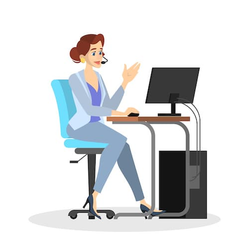 cartoon showing female virtual assistant sitting at a desk with headphone