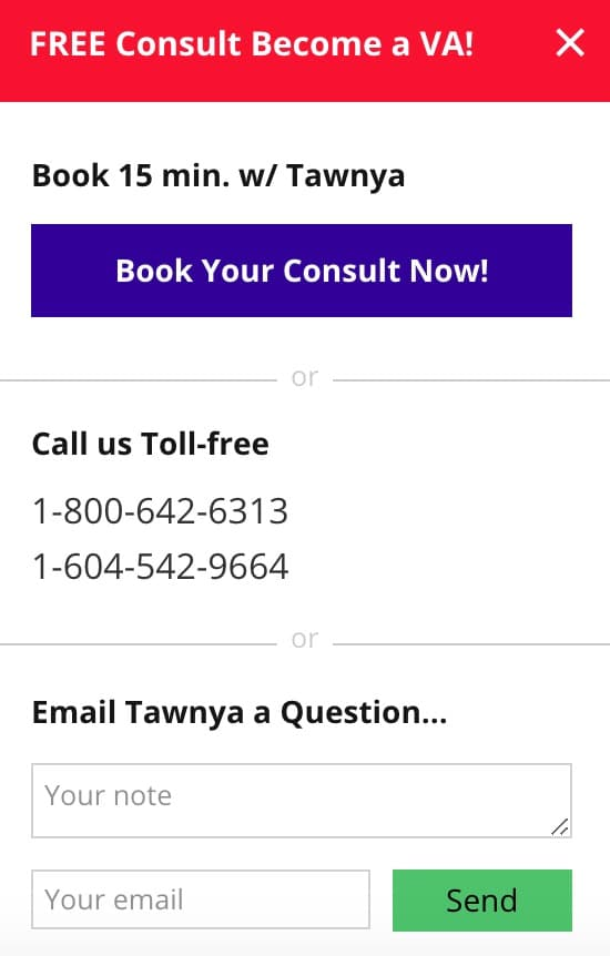free 15 minute consultation with Tawnya