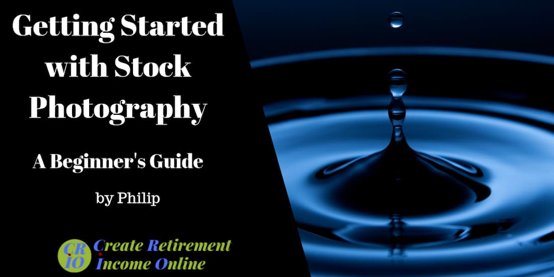 feature image for getting started with stock photography showin stunning image of blue water droplet