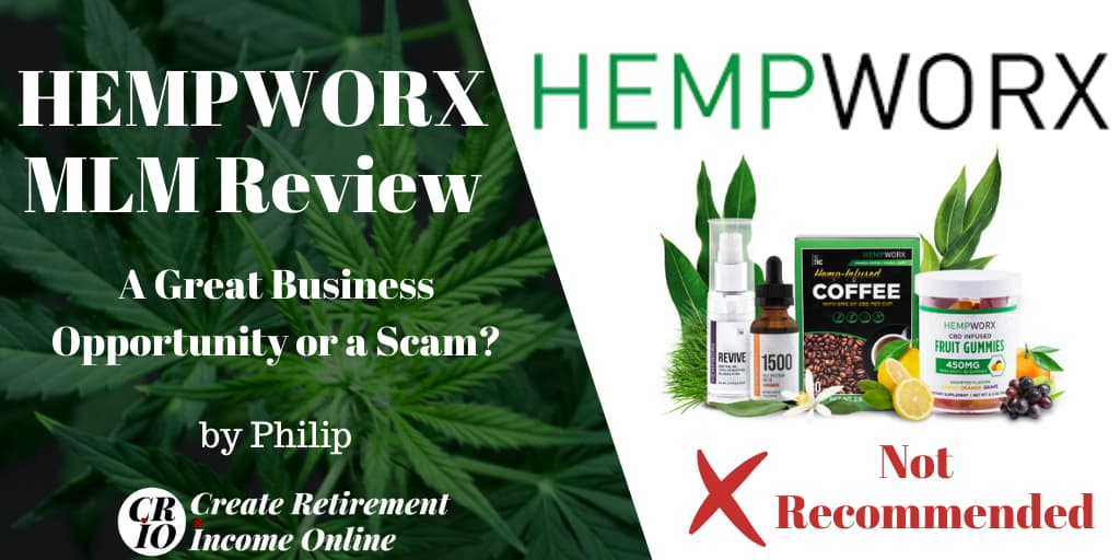 Featured Image for Hempworx MLM Review Showing Hempworx Logo and a selection of products