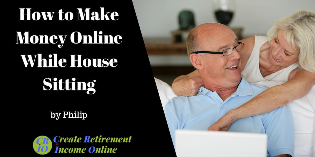 feature image showing happy older couple working online on a laptop computer while house sitting