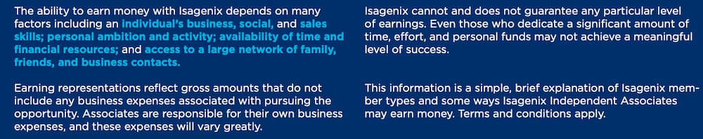 Isagenix income disclaimer statement