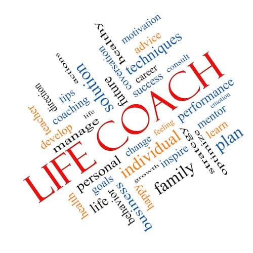 Life Coach Word Cloud Concept angled with great terms such as actions, goals, change and more.