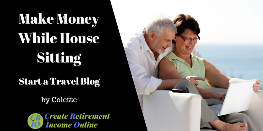 feature image for make money while house sitting showing older couple in a tropical location working on their travel blog on a computer