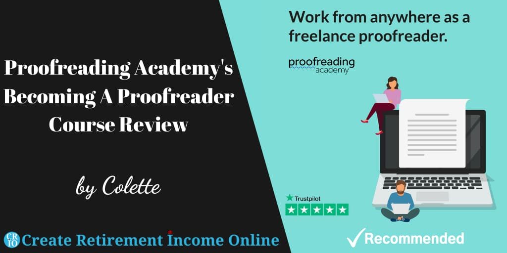 Featured Image for Proofreading Academy Review Showing Proofreading Academy Logo and a Cartoon of of a Man and a Woman Sitting on a Giant Laptop and Working on Their Own Laptops