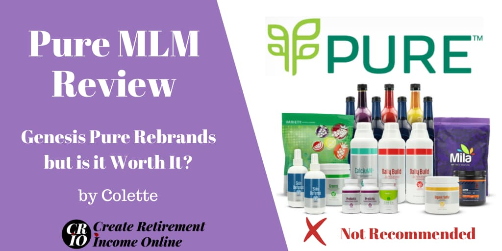 Featured Image for Pure MLM Review Showin Pure Logo and a Selection of Pure Products