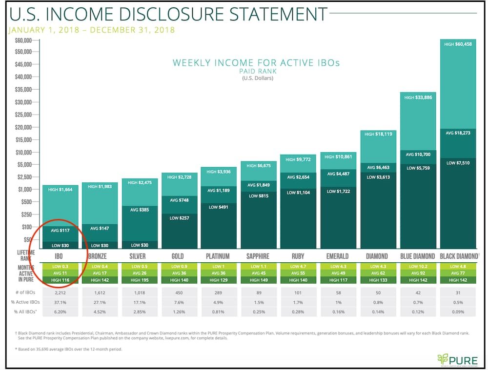 Pure MLM review income disclosure statement