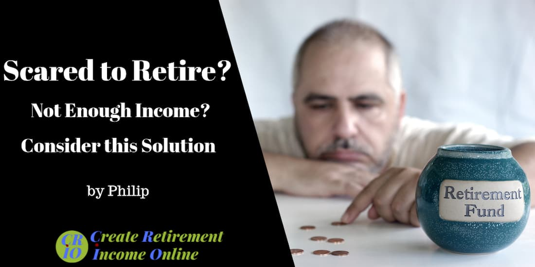 feature image for scared to retire showing worried man counting pennies from his retirement savings