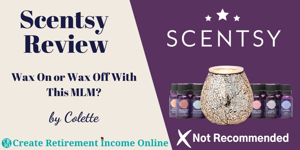 Featured Image for Scentsy Review Showing Scentsy Logo a Selection of Aromatherapy Oils and an Oil Diffuser