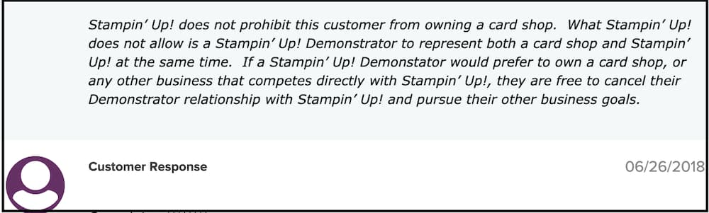Stampin Up response to customer complaint