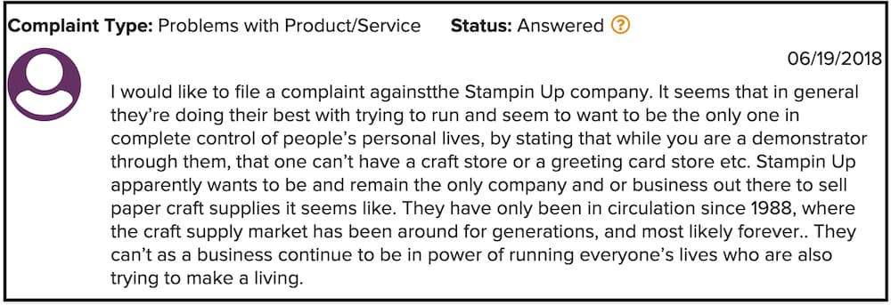 Stampin UP review customer complaint
