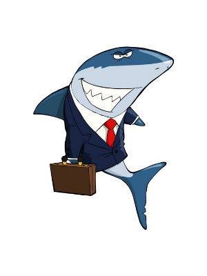 CRIO Homepage Cartoon of a Shark Dressed in a Suit