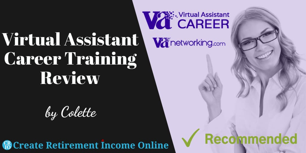 Featured Image for Virtual Assistant Career Training Review Showing the Company Logo and an Image of an attractive Woman wearing glasses
